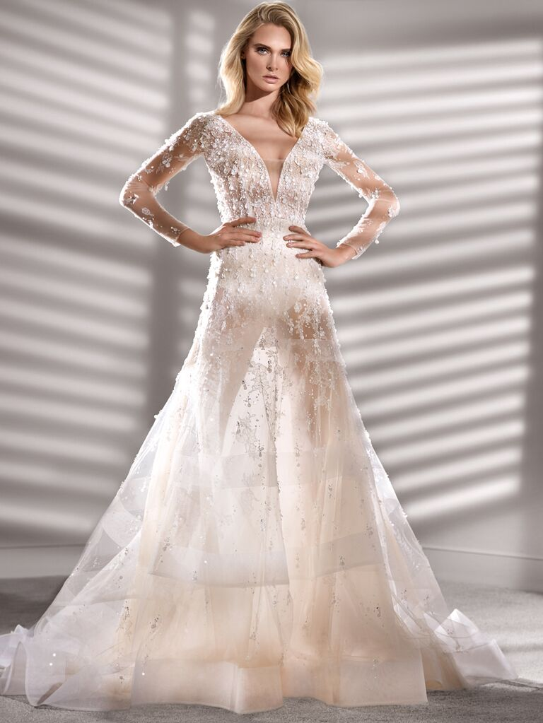 Nicole Couture Spring 2020 Bridal Collection embellished long sleeve wedding dress