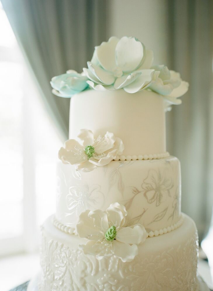 Hand-Painted Fondant Wedding Cake with Flowers