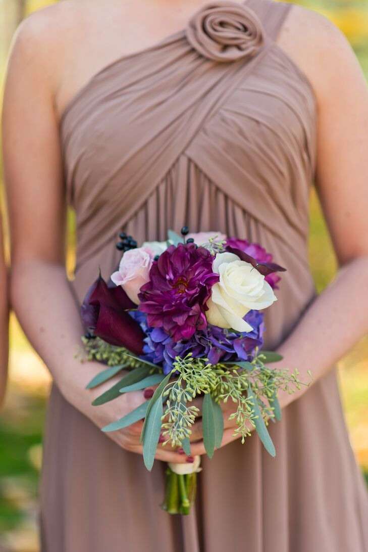 Purple Bouquet with Roses and Mums