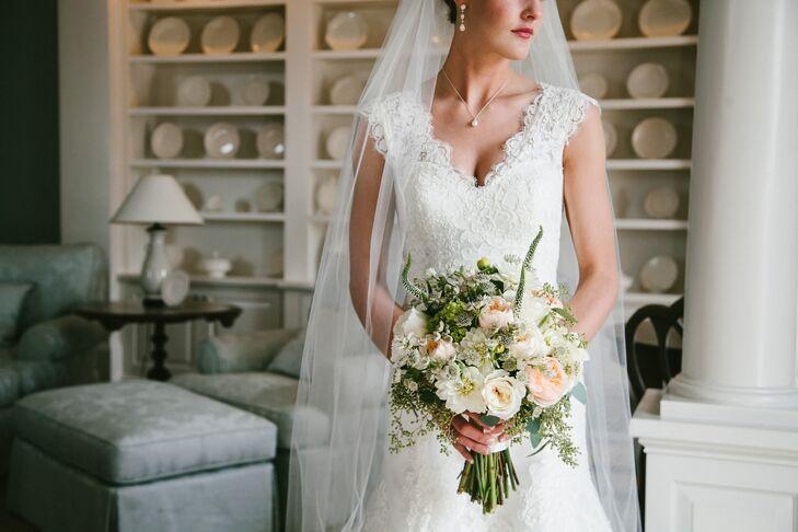 Alencon Lace Wedding Dress And A Fresh Spring Bouquet