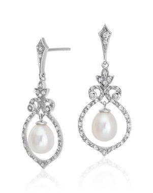 Blue Nile Floating Freshwater Pearl in White Topaz Swirl Dangle Earrings Wedding Earring photo