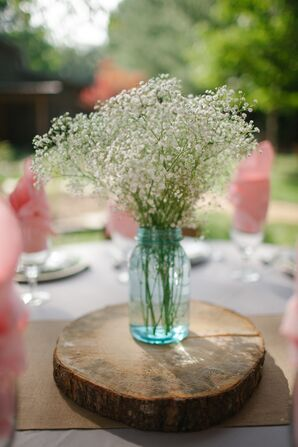 Simple White Baby's Breath Wedding Reception Centerpieces