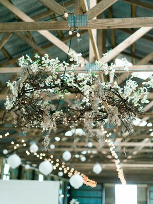 DIY Flower and Twig Chandelier