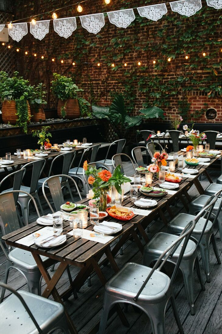 Modern, Casual Dining Tables and Hanging Decorations at Gran Electrica in Brooklyn, New York
