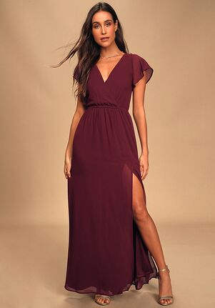 Lulus Lost in the Moment Burgundy Maxi Dress V-Neck Bridesmaid Dress