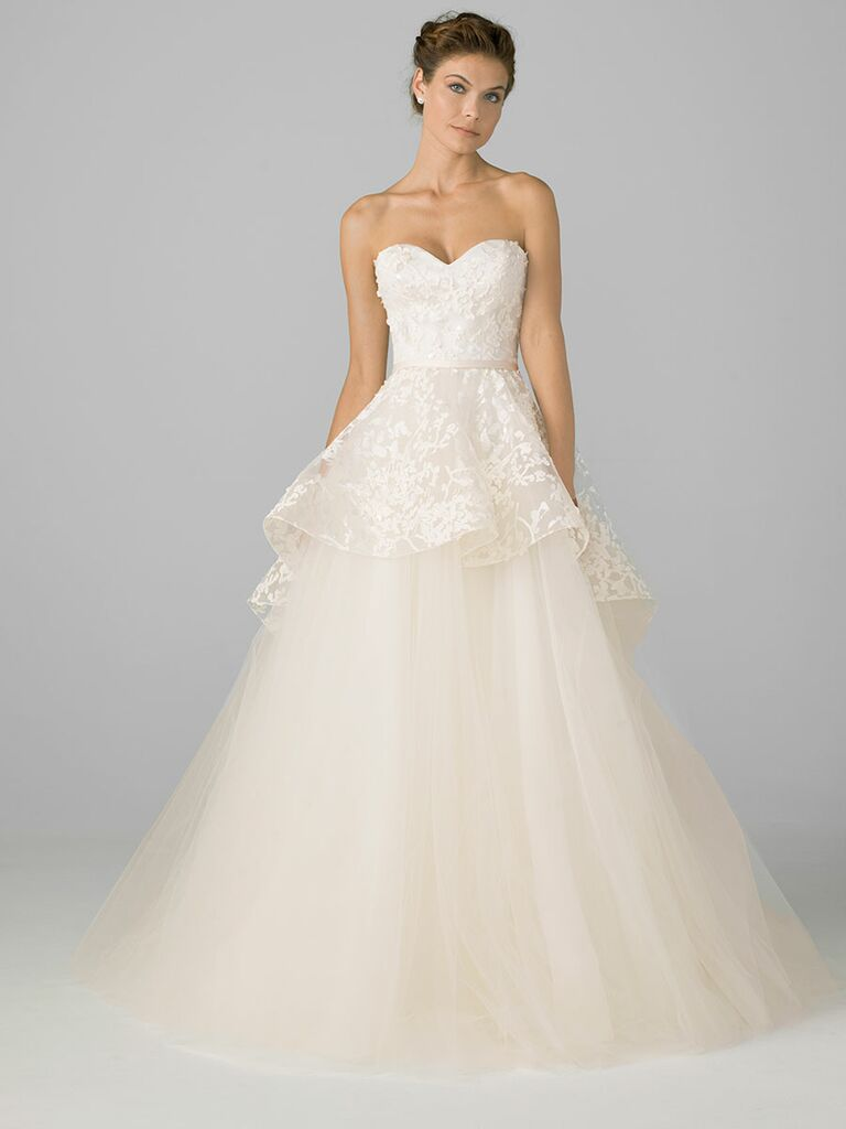 Azul by Liancarlo Fall 2018 wedding dresses peplum silhouette with tulle skirt