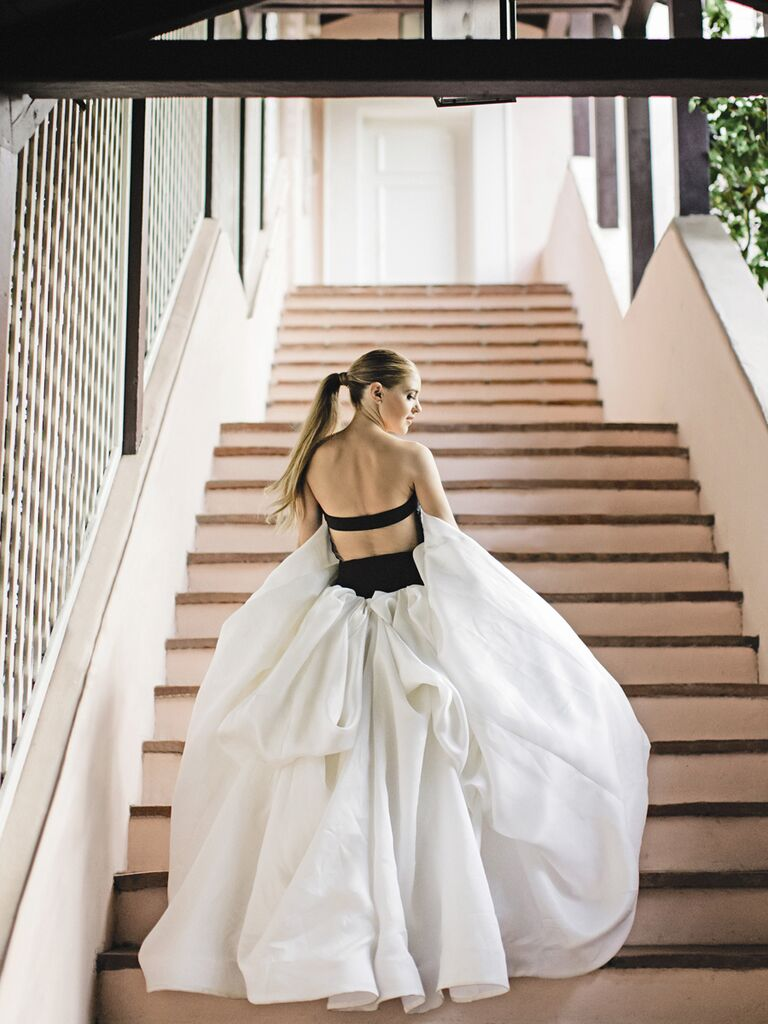 Black and white nontraditional wedding gown by Vera Wang