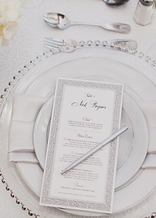 silver menu cards | Luxury Estate Weddings & Events | Blog.theknot.com