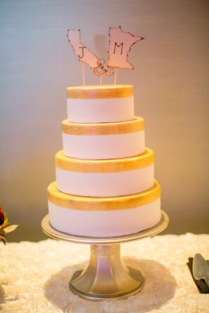 Whimsical State Cake Topper on Yellow Rimmed Cake