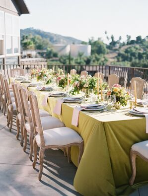 Green Reception Tablescape at Cordiano Winery in Escondido, California