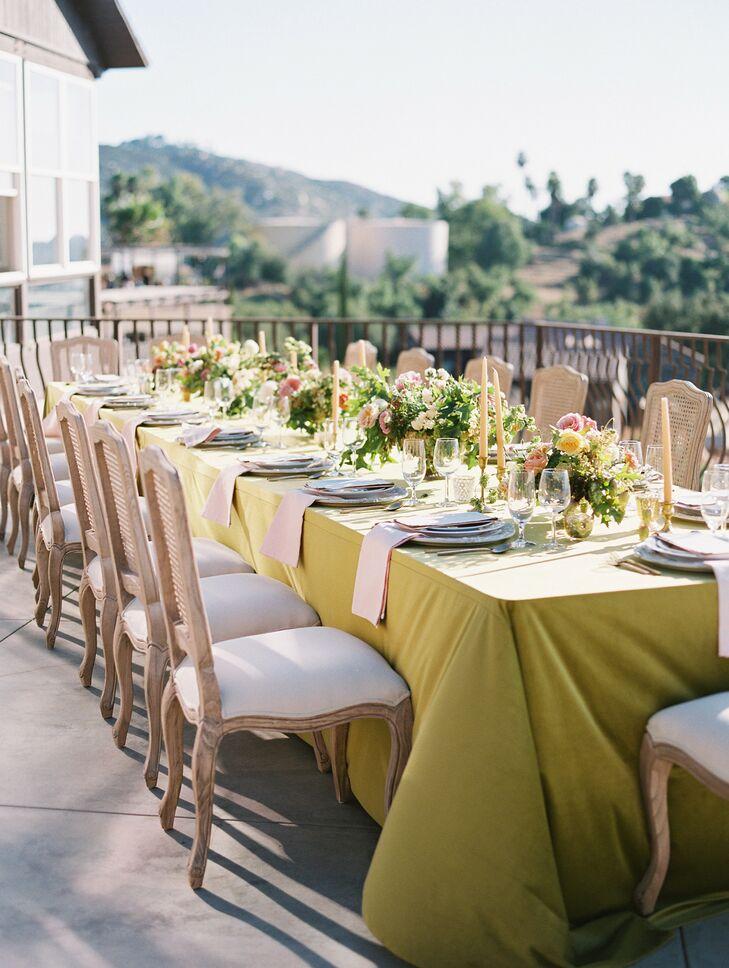 Green Reception Tablescape at Cordiano Winery in Escondido, California