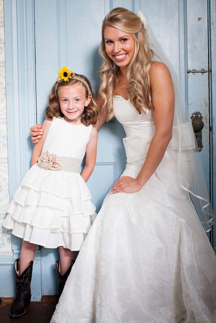 Bride and Flower Girl at Barr Mansion in Austin, Texas