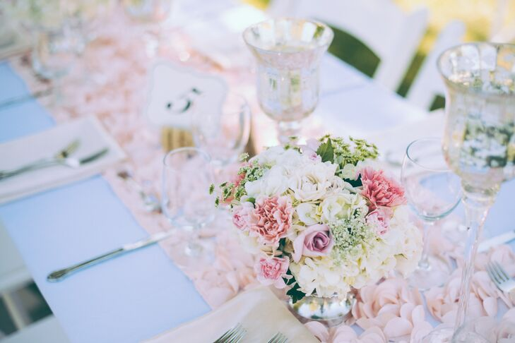 """""""The theme/style for our wedding was vintage/romantic, of course with touch of modern  with soft blushes, whites and silvery treys."""""""