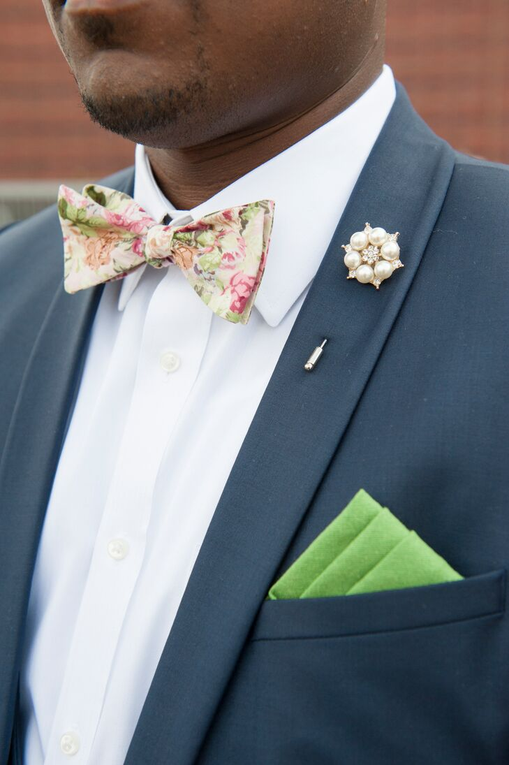 Floral Bow Tie and Pearl Boutonniere
