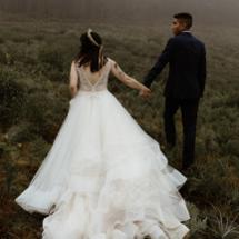 bride in Ashley wedding dress with groom
