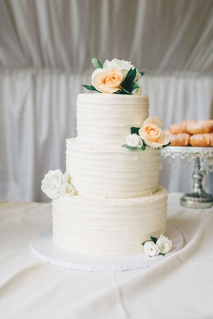 Three-Tier Rose-Decorated Cake