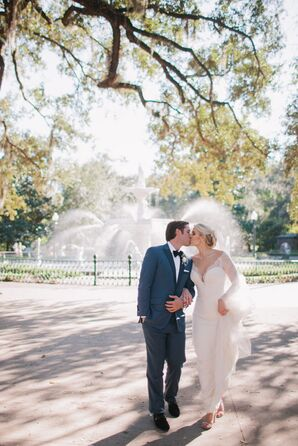 Couple Kissing Near Fountain at Mansion on Forsyth Park