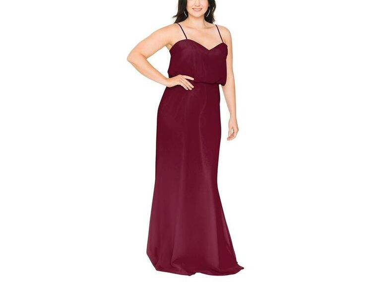Red plus size bridesmaid dress under $150