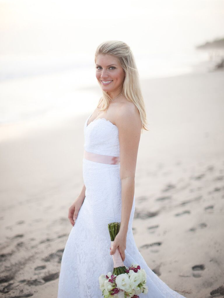 Casual Beach Wedding Hairstyle With Half Up Hair