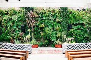 Modern Ceremony Site with Plant and Succulent Backdrop
