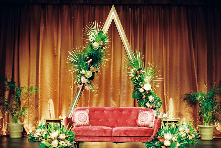 Triangular Stage Decor with Velvet Couch