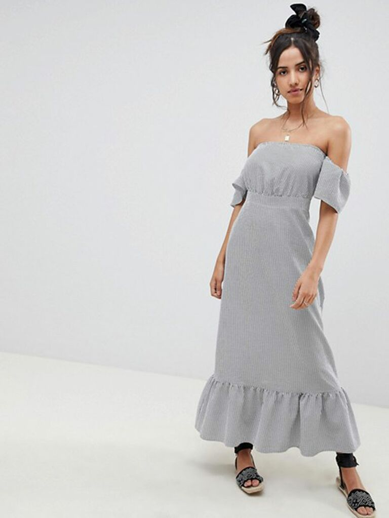 off the shoulder gray maxi