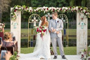 Couple in front of a Door Frame Ceremony Arch