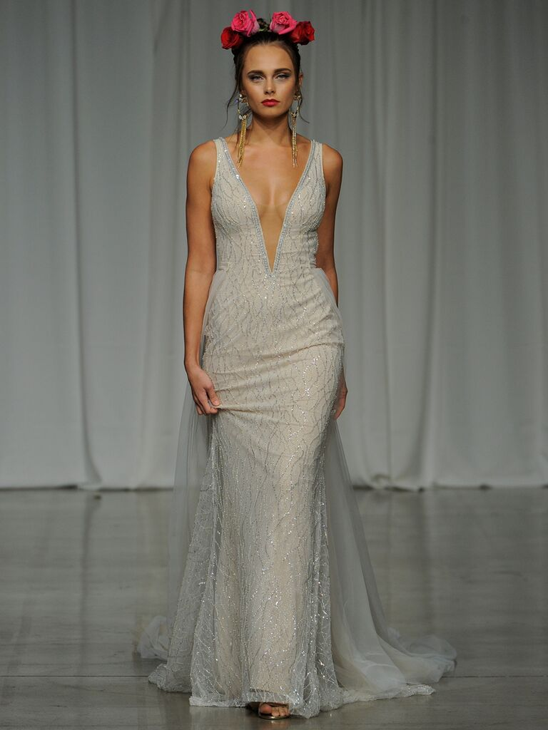 Julie Vino Spring 2019 embellished wedding dress with a plunging illusion neckline and train