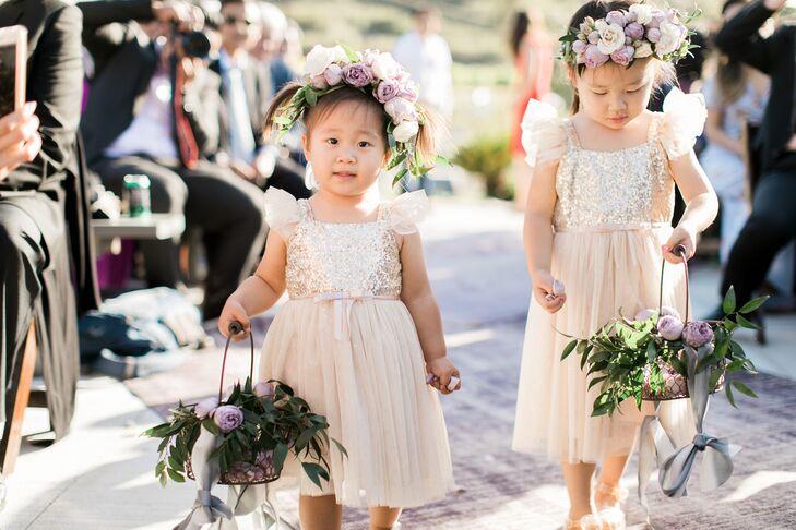 Blush Sequin and Tulle Flower Girl Dresses