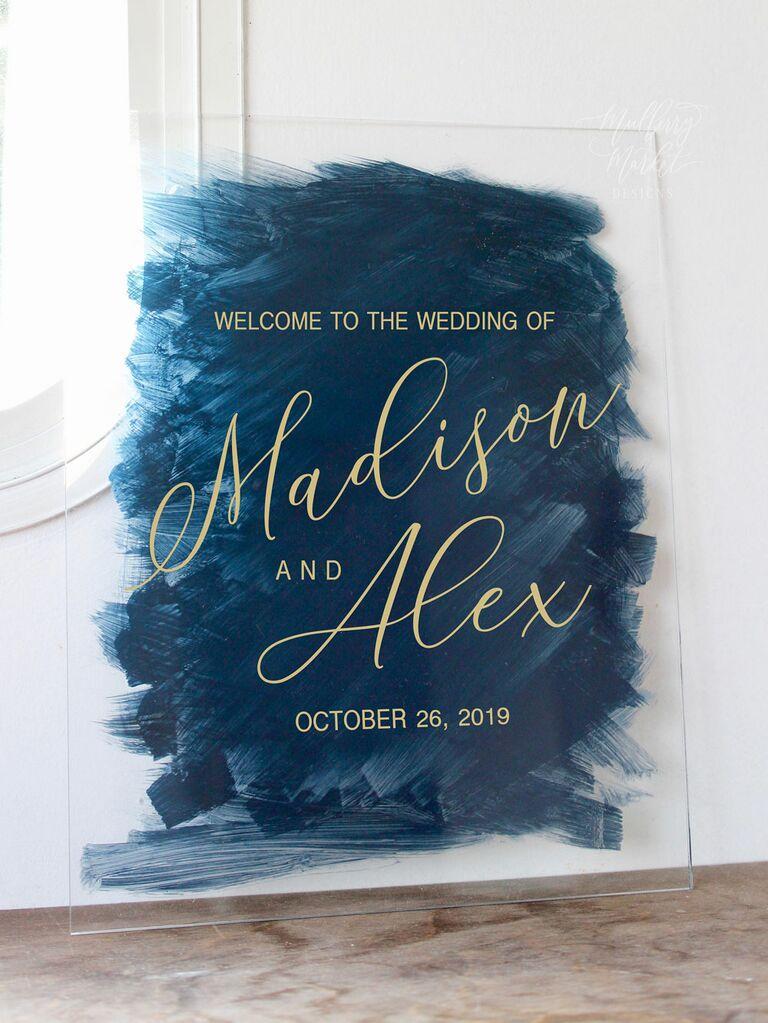 Painted acrylic wedding welcome sign