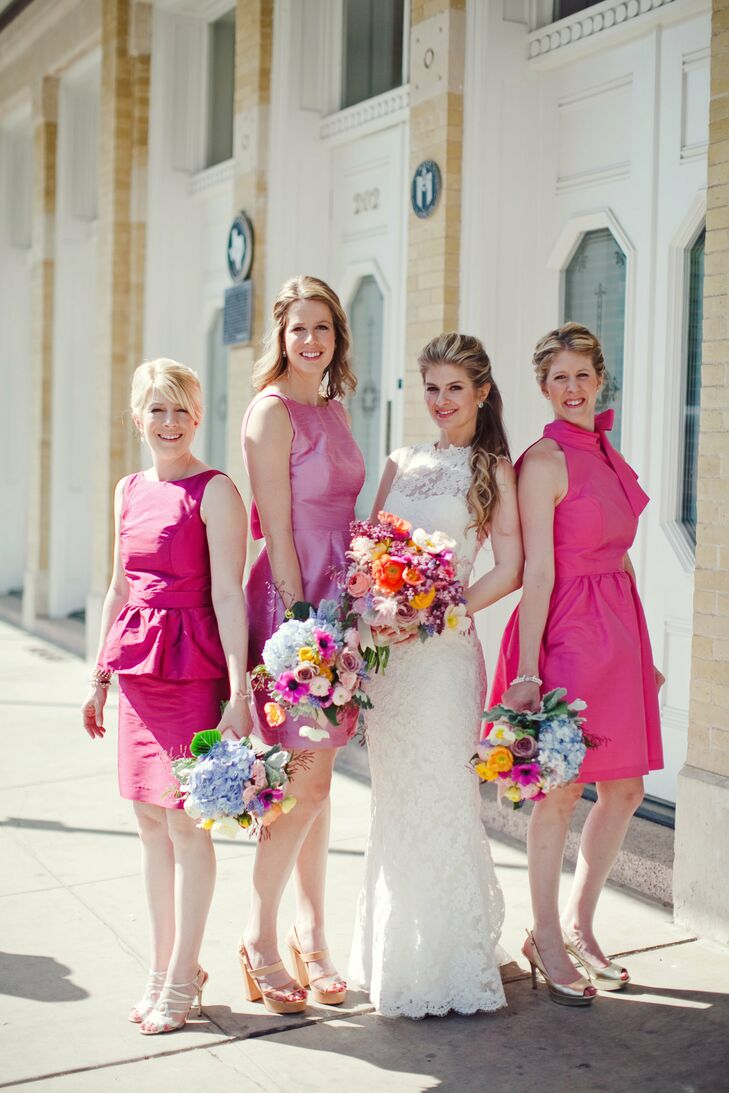 Pink, Cocktail-Length Bridesmaid Dresses