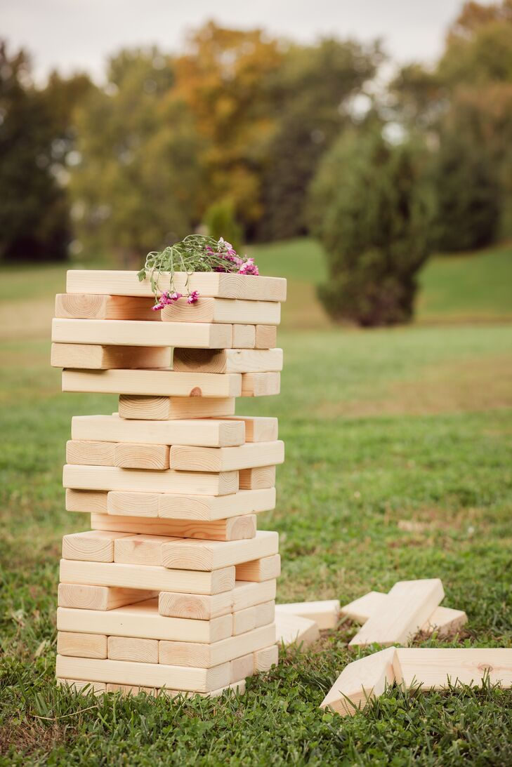 Large lawn games, like an oversized version of Jenga, were equal parts decorative and entertaining.