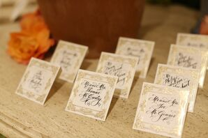 Elegant Calligraphed Place Cards with Gold Borders