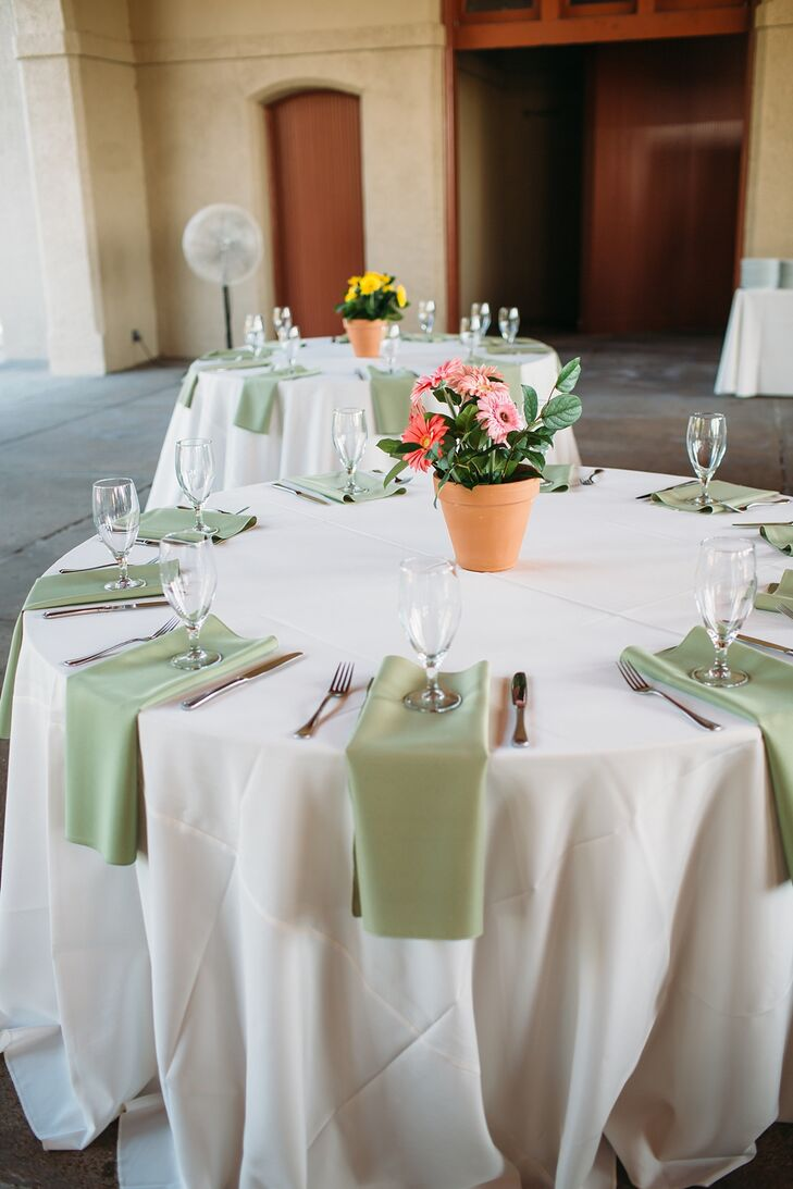 Simple White and Sage-Green Linens with Potted Flower Centerpieces