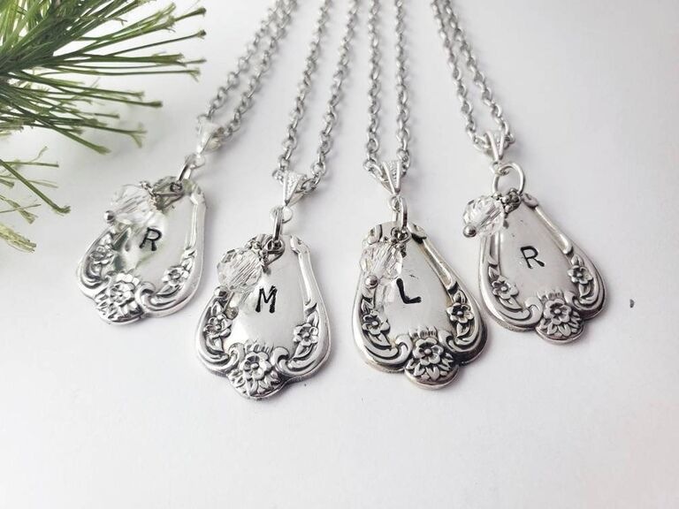 Upcycled silverware necklaces personalized with initials