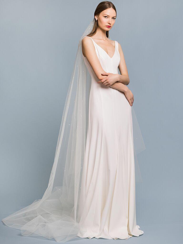 EDEM Demi Couture sheath dress with V-neckline