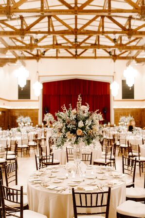 White Reception Tables with Tall Centerpieces