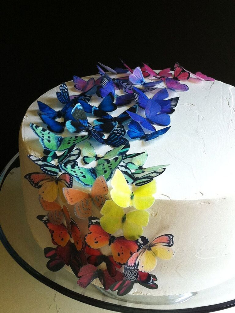 rainbow butterfly cake decor