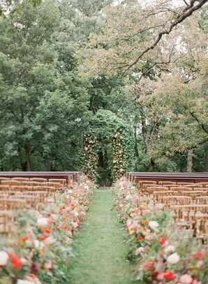 Flower-Lined Ceremony Aisle