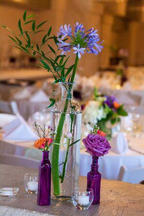 Orange and Purple Floral Arrangements