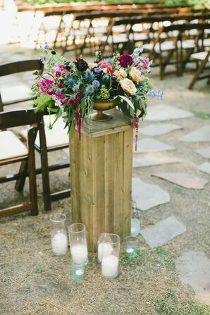 Ceremony Aisle Decoration with Wildflowers and Candles
