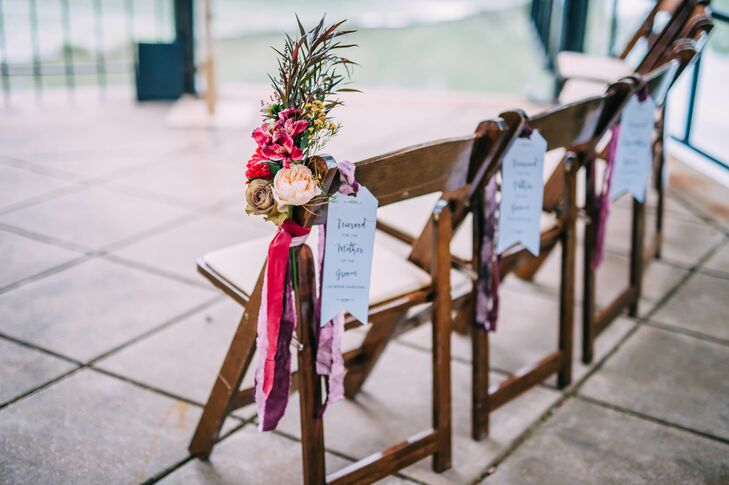 Wooden Ceremony Chairs with Colorful Florals and Dyed Ribbon