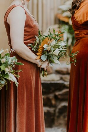 Velvet Bridesmaids Dresses and Rustic Bouquets