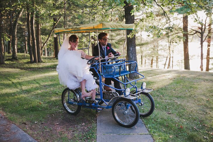Sarah and Finn tooled around the campground on a quadricycle, a four-wheel cart.