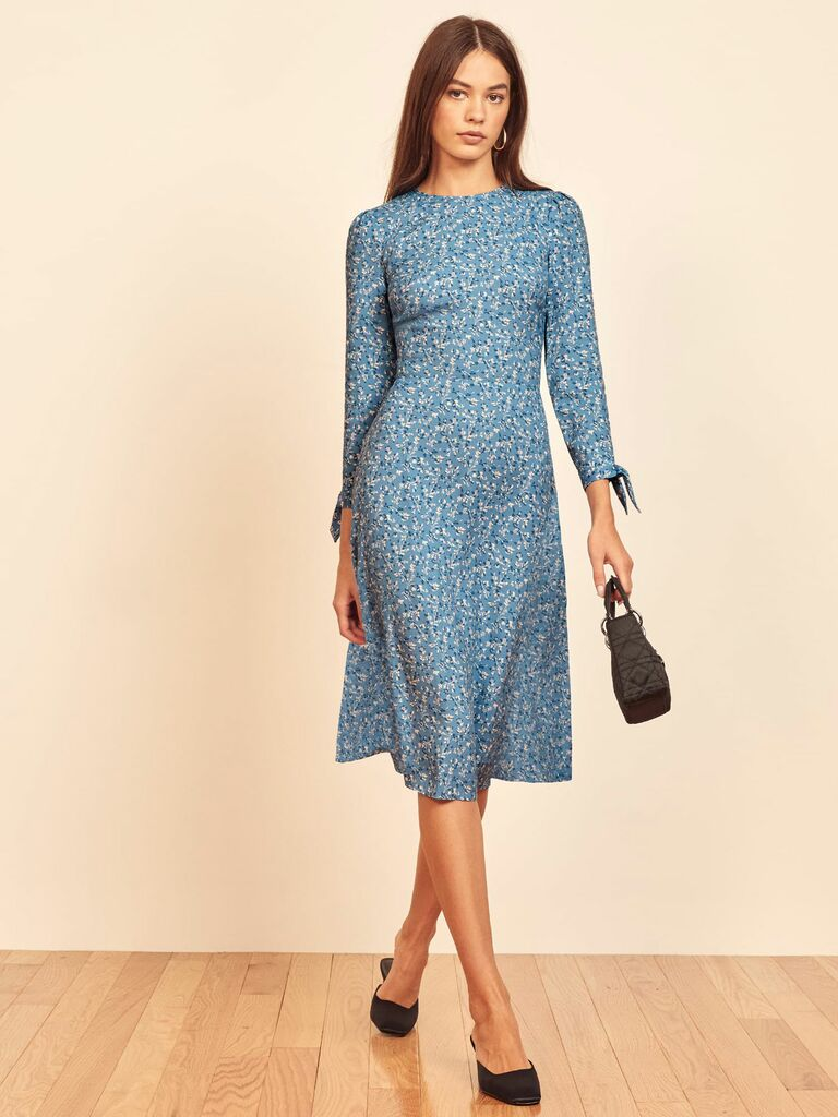 Reformation floral print blue midi dress with long sleeves
