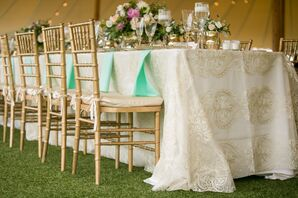 Gold Chiavari Chairs with Champagne Linens