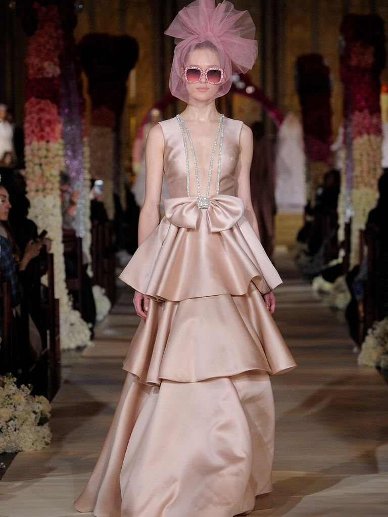 Reem Acra Spring 2020 Bridal Collection blush tiered wedding dress with front bow detail