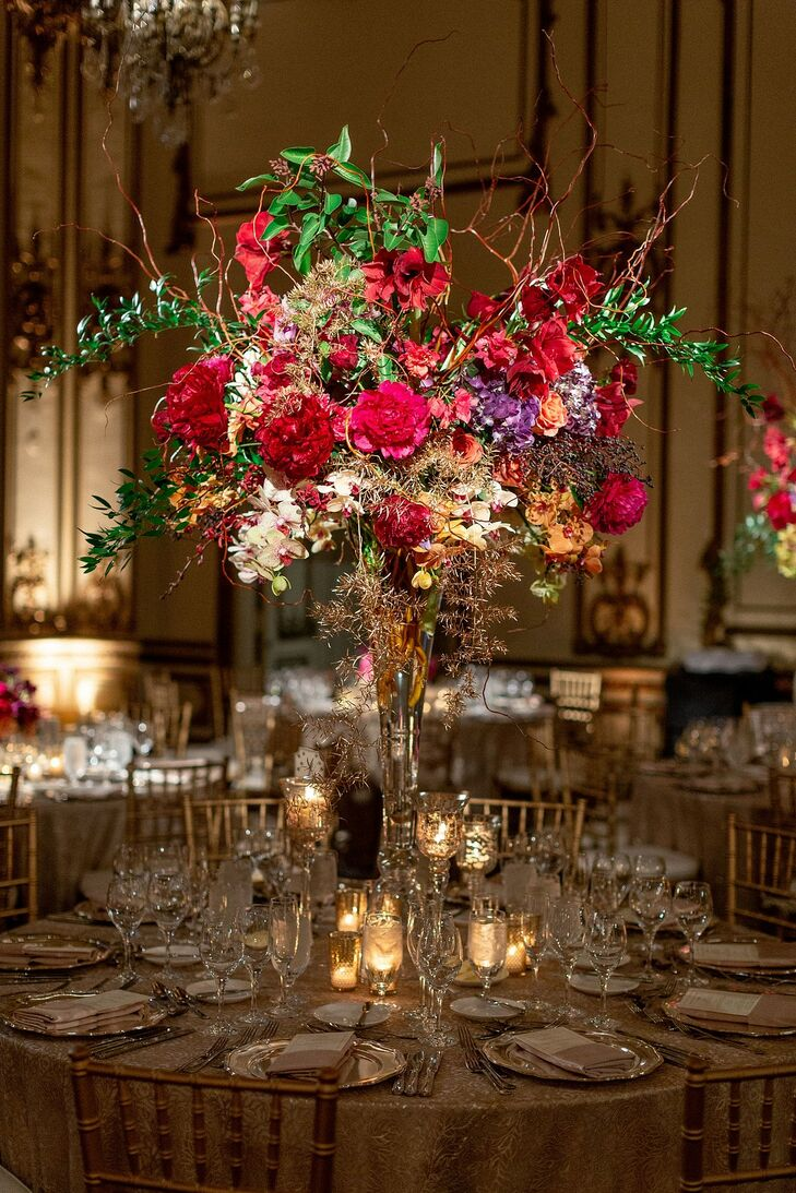 Glamorous Tall Centerpieces with Peonies, Amaryllis and Branches