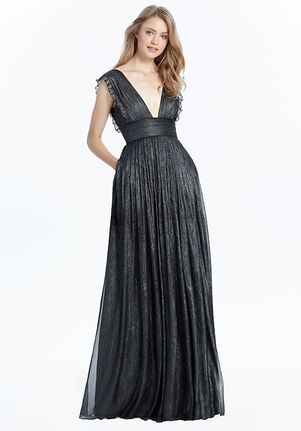 Monique Lhuillier Bridesmaids 450425_Black V-Neck Bridesmaid Dress