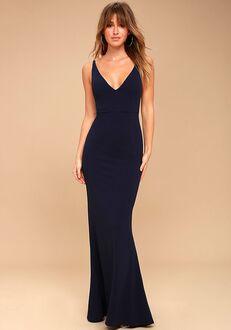 Lulus Melora Navy Blue Sleeveless Maxi Dress V-Neck Bridesmaid Dress